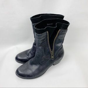 Born Leather Zipper Boots Size 8